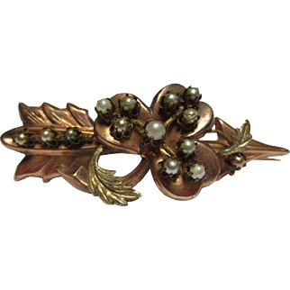 Antique 9K Rose Gold Victorian Natural Pearl Clover & Arrow Brooch