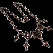 Splendid Victorian Silver Gold Gilt Bohemian Garnet Flower Festoon Drop Necklace