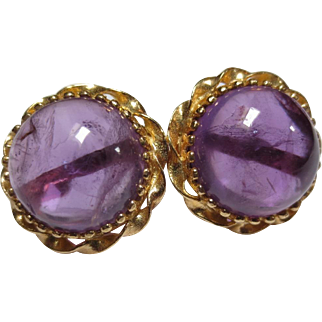 Large Vintage 14k Gold Amethyst Cabochon Earrings