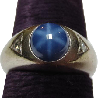 Beautiful Blue Star Sapphire & Diamond 14k White Gold Vintage Ring