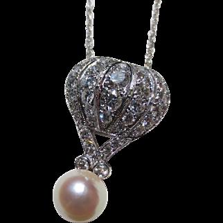 Wonderful Vintage 14k White Gold Diamond & Pearl Hot Air Balloon Pendant
