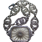 Lovely Art Deco 10k White gold Camphor Glass Diamond Bracelet
