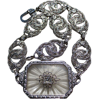 Lovely Art Deco 10k White gold Camphor Glass Diamond Bracelet