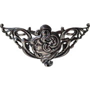 Art Nouveau Gibson Girl Sterling Silver Belt Buckle