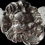 Large Silver Art Nouveau Repousse Antique Lady Portrait Brooch
