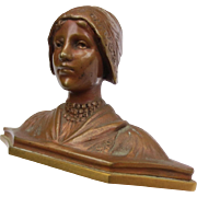 Beautiful Antique Bronze Bust Statue of Young Lady