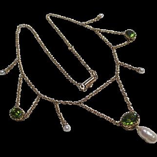 Antique 14k Gold Pearl & Peridot Festoon Necklace
