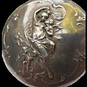 Large Art Nouveau Sterling Locket Cherubs Angel