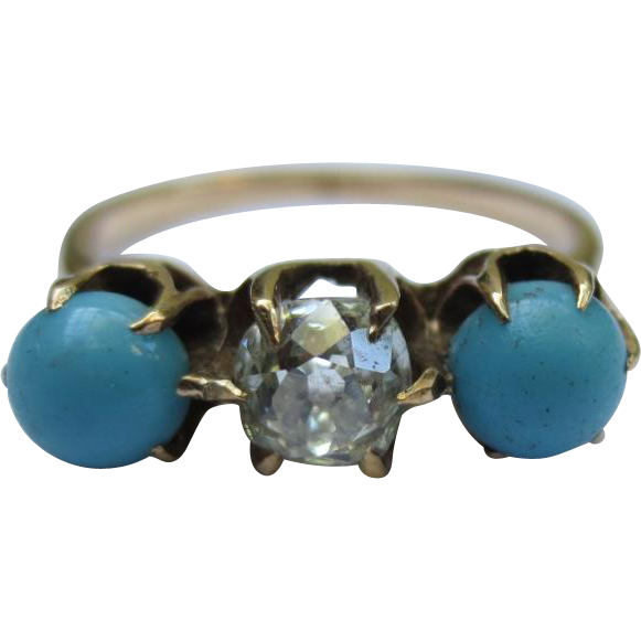 Antique Persian Turquoise & Diamond Victorian 14k Gold Ring