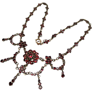 Antique Bohemian Garnet Victorian Festooned Draped Necklace