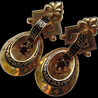 18k Gold Victorian Garnet Enamel Taille d'Epargne Drop earrings