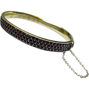 Fine Victorian Silver & Gold Bohemian Rose Cut Garnet Bangle Bracelet