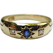 Elegant 18k Gold Edwardian Sapphire & Diamond Gypsy Ring Engagement Band