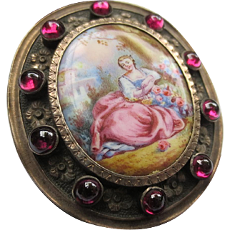 Antique Miniature Portrait Brooch Garnet Floral Silver Frame
