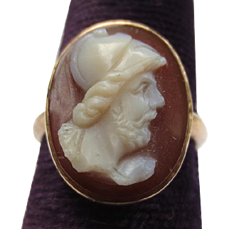 Victorian 10k Gold Hardstone Antique Cameo Ring