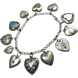 Lovely Antique to Vintage Puffy Heart Silver Charm Bracelet