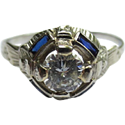 Art Deco 20k White Gold Diamond Sapphire Engagement Ring