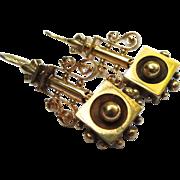 Fantastic Etruscan Revival Victorian 14k Gold Earrings