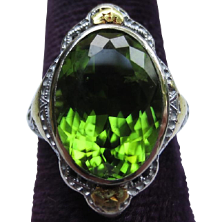 Wonderful Peridot 10k White & Yellow Gold Edwardian Ring