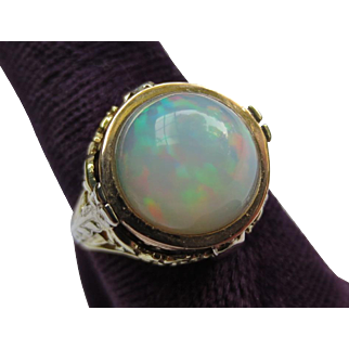 Breathtaking Large Opal Edwardian Yellow & White Gold Ring