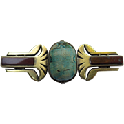 Bold Egyptian Revival Silver Scarab Beetle Brooch