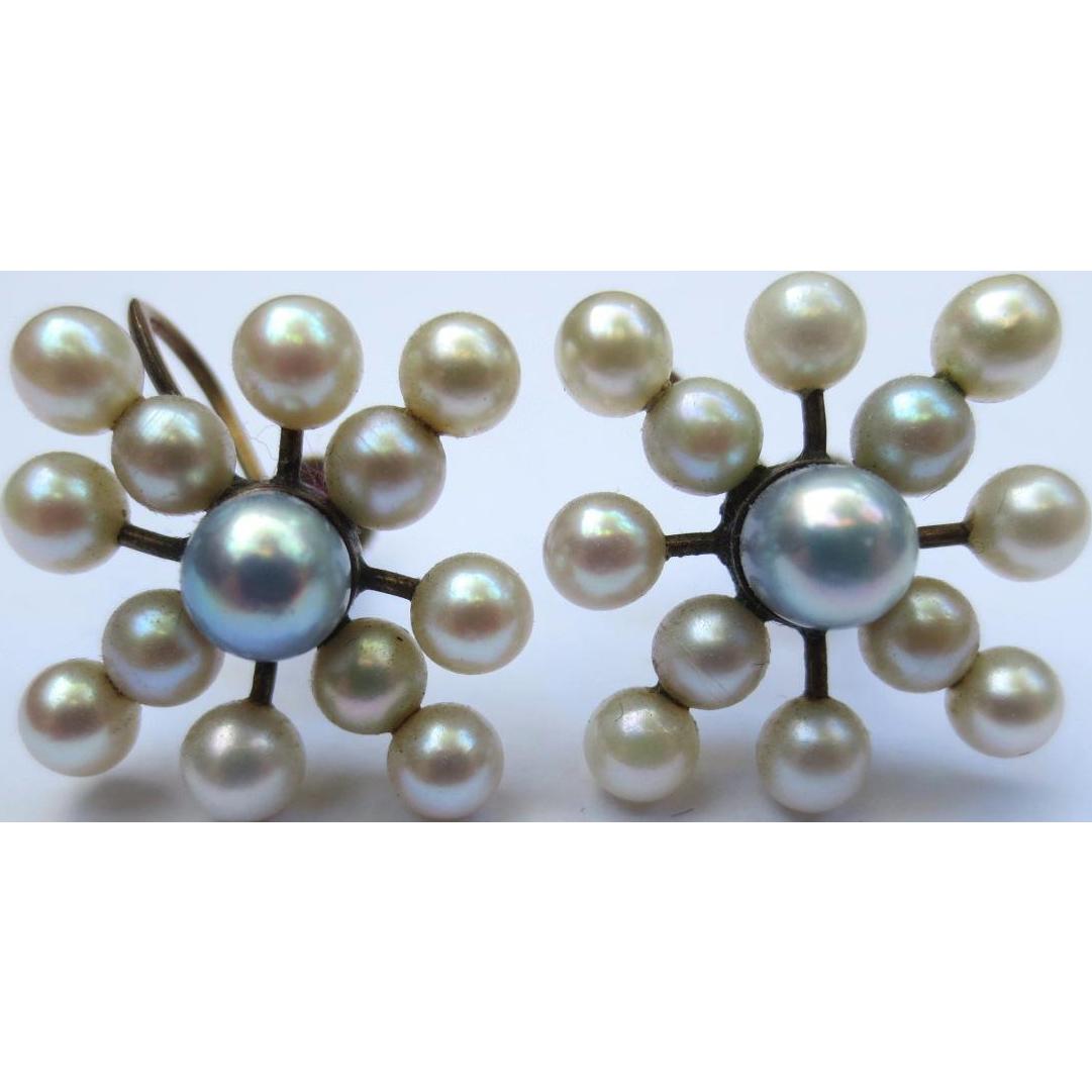 Lovely Starburst Vintage 10k Gold & Pearl Earrings