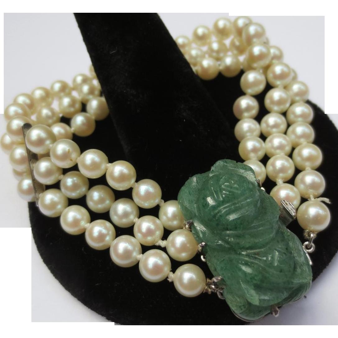 Vintage Multi Strand Pearl & Aventurine Silver Bracelet