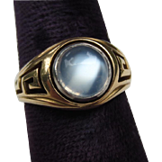 Classic Greek Key 14k Gold Fine Vintage Moonstone Ring