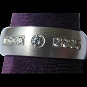 Vintage 14k White Gold Diamond Mens Engagement Ring
