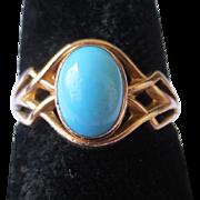 Edwardian 14k Gold Persian Turquoise Cabochon Ring