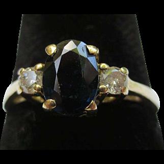 18k Yellow Gold Diamond & Sapphire Vintage Ring
