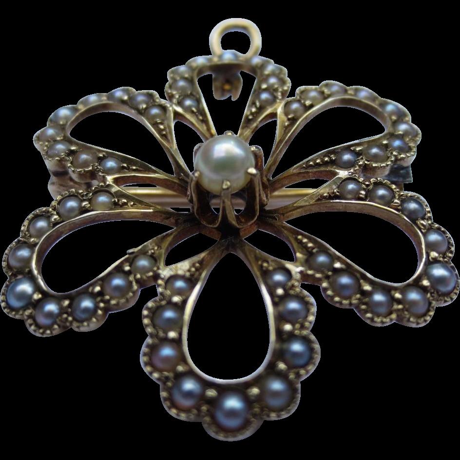 Edwardian 14k Gold Seed Pearl Flower Pendant / Brooch