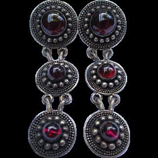 Etruscan Revival Silver Medallion Garnet Cabochon Chandelier Earrings