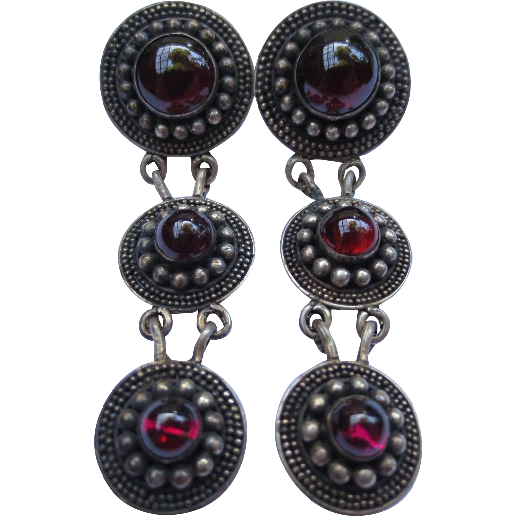 Etruscan Revival Silver Medallion Garnet Cabochon Chandelier Earrings