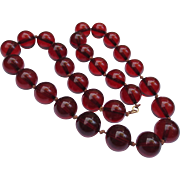 14k Gold Vintage Cherry Amber Strand Bead Necklace