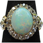 Beautiful Antique Opal & Diamond 14k Gold Halo Ring