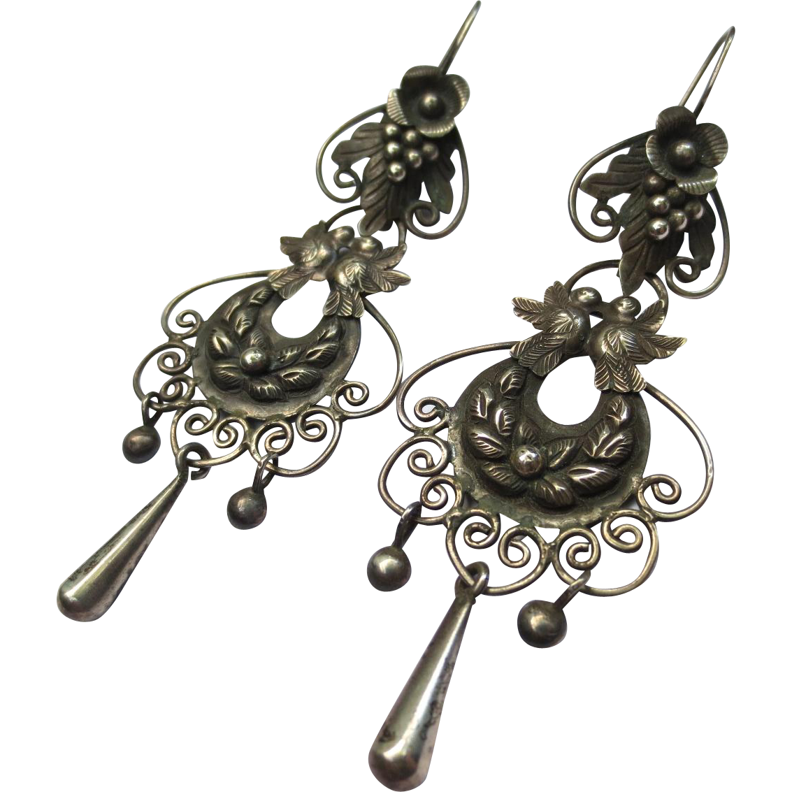 Vintage Mexican Silver Floral Bird Chandelier Earrings