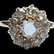 Gorgeous Victorian Rose Cut Diamond 14k Gold Halo Ring
