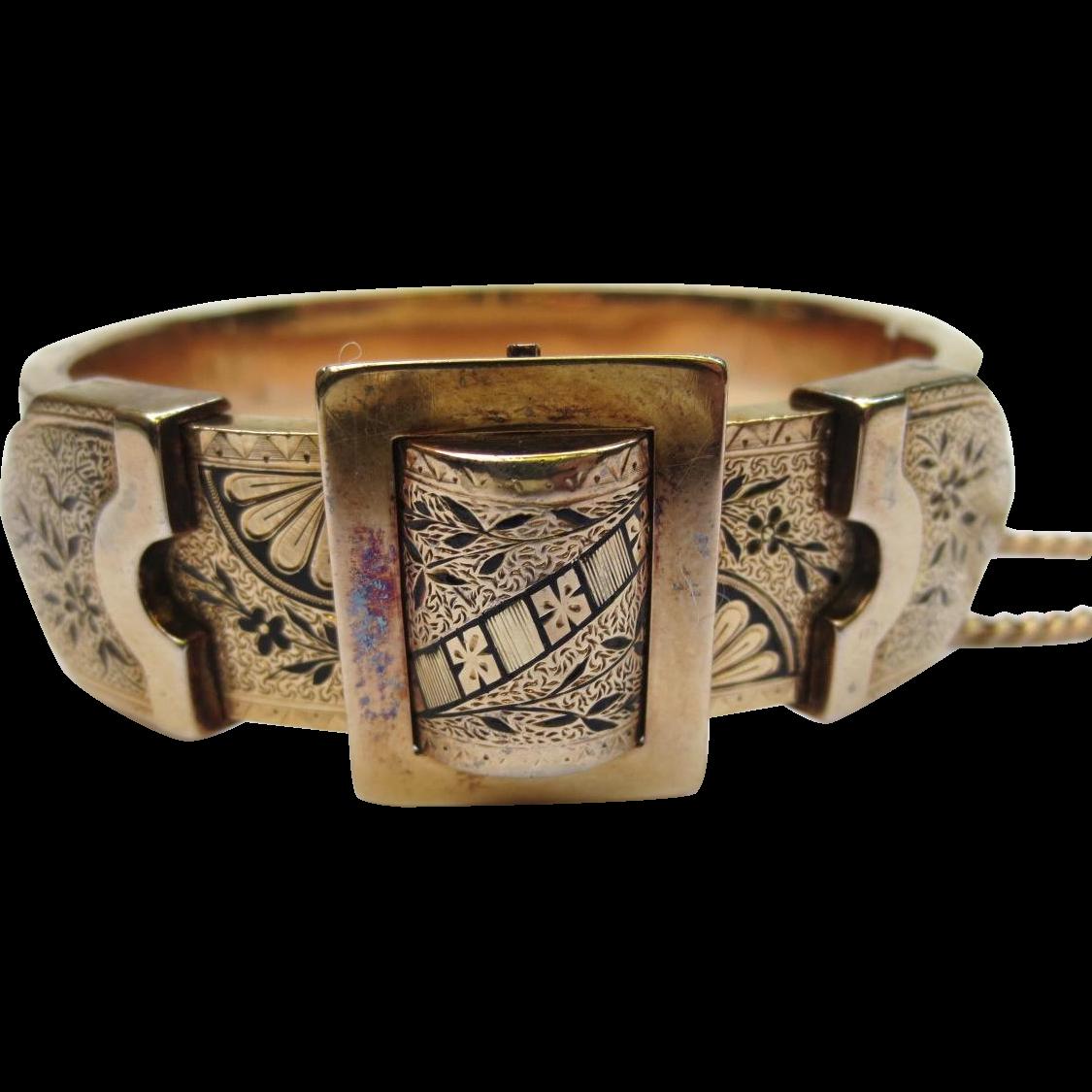 Victorian 14k Gold Enamel Buckle Bracelet
