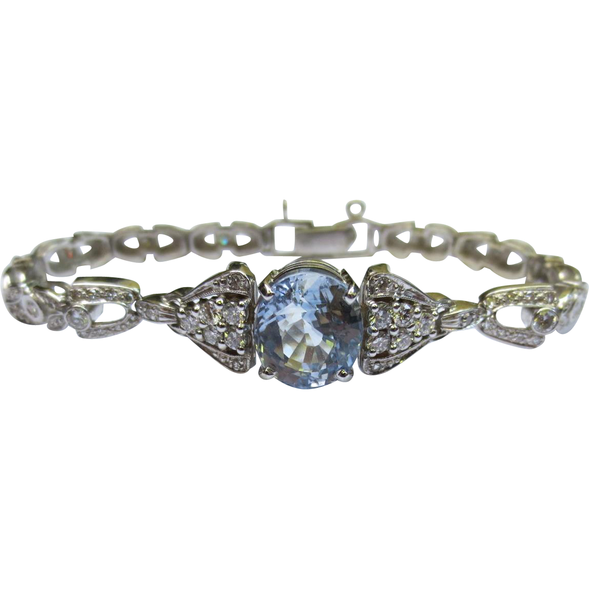 14k Gold Vintage Diamond and Sapphire Bracelet