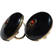 Classic Antique Black Enamel Garnet 14k gold earrings