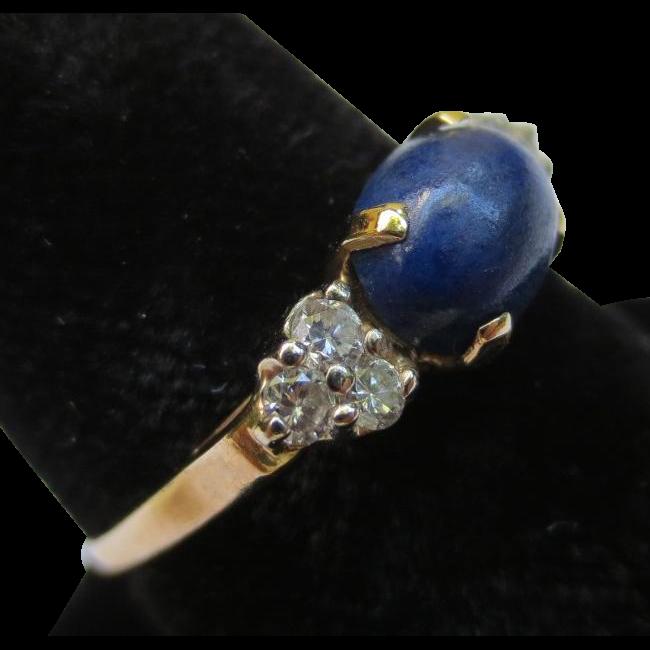 Lapis Lazuli & Diamond 14k Yellow Gold Vintage Ring