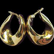 14k Gold Wide Curved Hoop Earrings