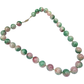 Vintage Large Jade Bead Necklace Strand Sterling Silver Clasp