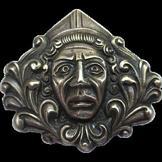 Unusual Vintage Silver Bishop Roman style Brooch