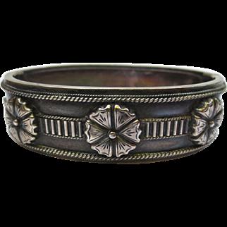 Victorian Sterling Silver Flower Medallion Bangle Bracelet