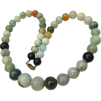 Multi Colored Natural Jade Vintage Chinese Beaded Necklace