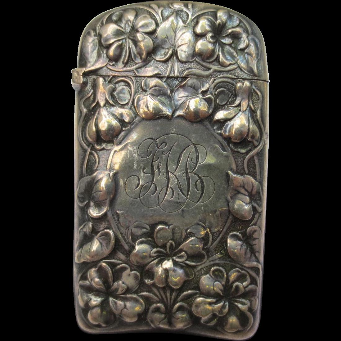 Gorham Sterling Silver Antique Art Nouveau Violet Flower Match Safe Vesta