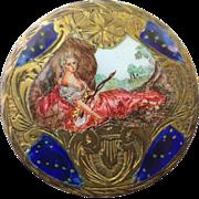 Vintage Italian Silver Gold Gilt Enamel Pill Box