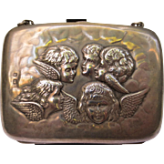 Antique Cherub Angel Sterling Silver Hand Purse